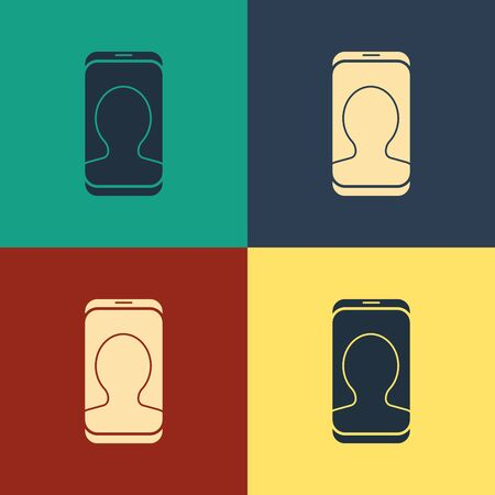 Color Taxi call telephone service icon isolated on color background. Taxi for smartphone. Vintage style drawing. Vector Illustration Ilustrace