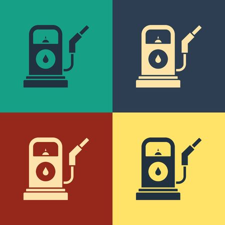 Color Petrol or Gas station icon isolated on color background. Car fuel symbol. Gasoline pump. Vintage style drawing. Vector Illustration  イラスト・ベクター素材