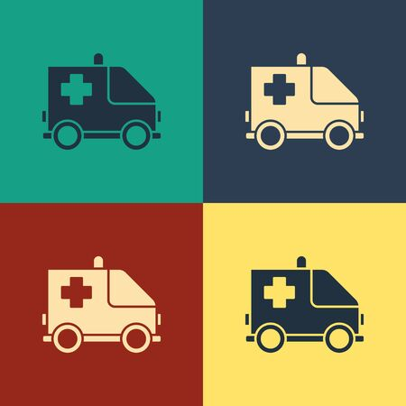 Color Ambulance and emergency car icon isolated on color background. Ambulance vehicle medical evacuation. Vintage style drawing. Vector Illustration