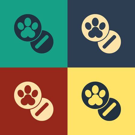 Color Dog and pills icon isolated on color background. Prescription medicine for animal. Vintage style drawing. Vector Illustration