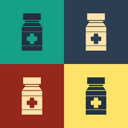 Color Dog medicine bottle and pills icon isolated on color background. Container with pills. Prescription medicine for animal. Vintage style drawing. Vector Illustration