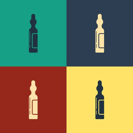 Color Pets vial medical icon isolated on color background. Prescription medicine for animal. Vintage style drawing. Vector Illustration