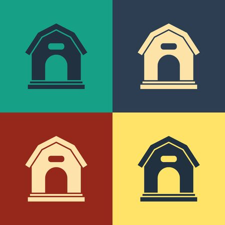 Color Dog house icon isolated on color background. Dog kennel. Vintage style drawing. Vector Illustration Illustration