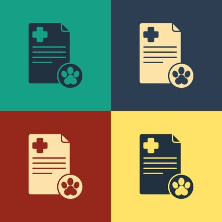 Color Clipboard with medical clinical record pet icon isolated on color background. Health insurance form. Medical check marks report. Vintage style drawing. Vector Illustration Standard-Bild - 134796148