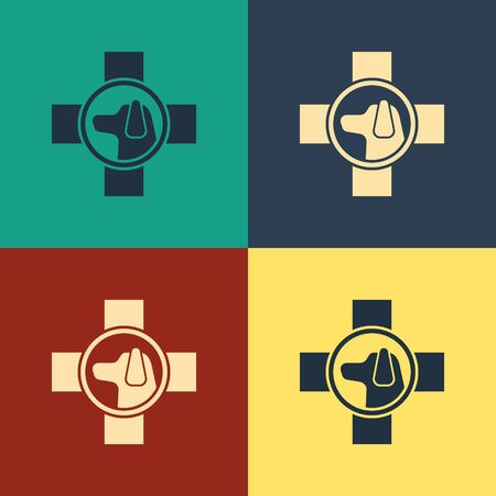 Color Veterinary clinic symbol icon isolated on color background. Cross with dog veterinary care. Pet First Aid sign. Vintage style drawing. Vector Illustration