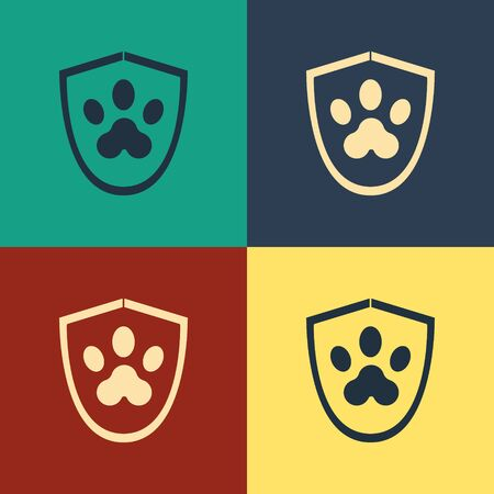 Color Animal health insurance icon isolated on color background. Pet protection icon. Dog or cat paw print. Vintage style drawing. Vector Illustration