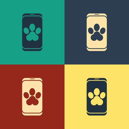 Color Online veterinary clinic symbol icon isolated on color background. Cross with dog veterinary care. Pet First Aid sign. Vintage style drawing. Vector Illustration