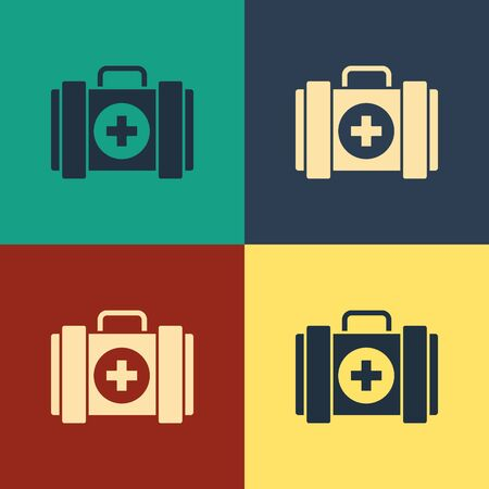 Color Pet first aid kit icon isolated on color background. Dog or cat paw print. Clinic box. Vintage style drawing. Vector Illustration Illustration
