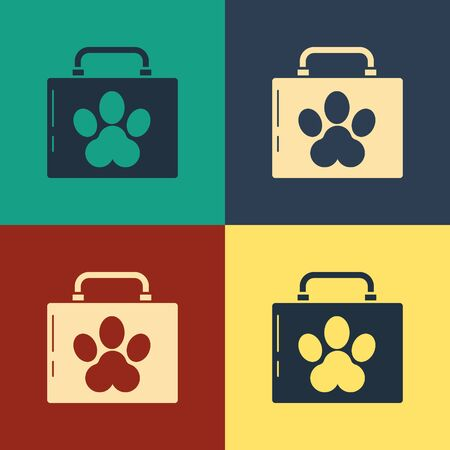 Color Pet first aid kit icon isolated on color background. Dog or cat paw print. Clinic box. Vintage style drawing. Vector Illustration Zdjęcie Seryjne - 134796284