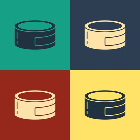 Color Canned food icon isolated on color background. Food for animals. Pet food can. Vintage style drawing. Vector Illustration