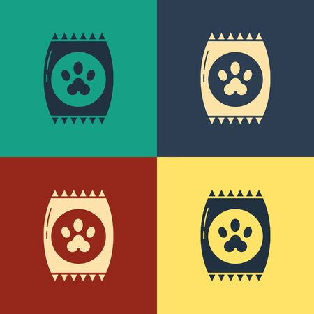 Color Bag of food for pet icon isolated on color background. Food for animals. Pet food package. Dog or cat paw print. Vintage style drawing. Vector Illustration