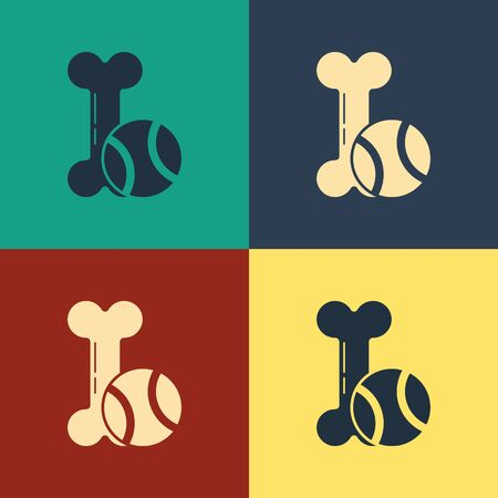 Color Pet toys bone rubber and ball icon isolated on color background. Vintage style drawing. Vector Illustration