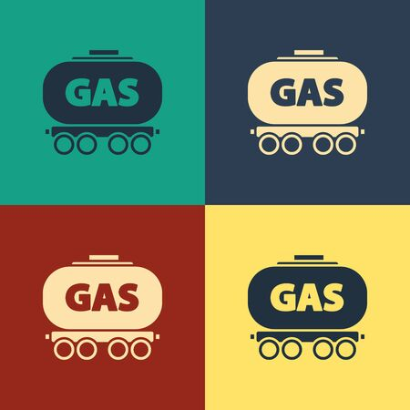 Color Gas railway cistern icon isolated on color background. Train gasoline tank on railway car. Rail freight. Vintage style drawing. Vector Illustration