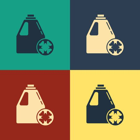 Color Antifreeze canister icon isolated on color background. Auto service. Car repair. Vintage style drawing. Vector Illustration