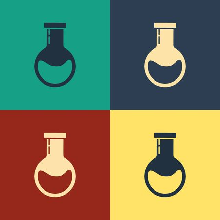 Color Test tube and flask - chemical laboratory test icon isolated on color background. Laboratory glassware sign. Vintage style drawing. Vector Illustration