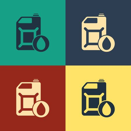 Color Plastic canister for motor machine oil icon isolated on color background. Oil gallon. Oil change service and repair. Vintage style drawing. Vector Illustration
