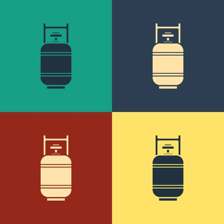 Color Propane gas tank icon isolated on color background. Flammable gas tank icon. Vintage style drawing. Vector Illustration