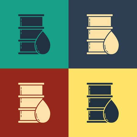 Color Barrel oil icon isolated on color background. Vintage style drawing. Vector Illustration Illusztráció