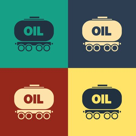 Color Oil railway cistern icon isolated on color background. Train oil tank on railway car. Rail freight. Oil industry. Vintage style drawing. Vector Illustration
