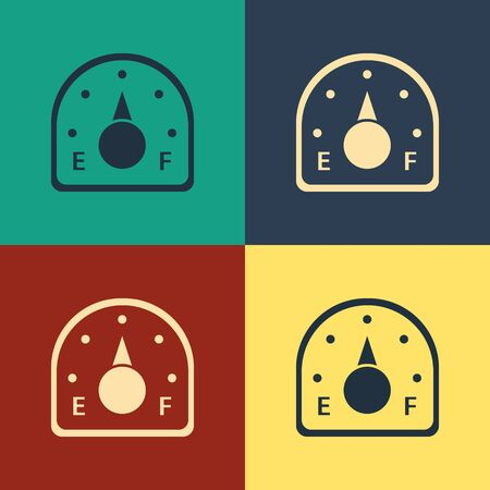 Color Motor gas gauge icon isolated on color background. Empty fuel meter. Full tank indication. Vintage style drawing. Vector Illustration