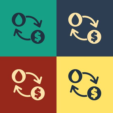 Color Oil exchange, water transfer, convert icon isolated on color background. Vintage style drawing. Vector Illustration Ilustracja