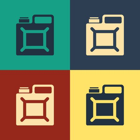 Color Canister for gasoline icon isolated on color background. Diesel gas icon. Vintage style drawing. Vector Illustration