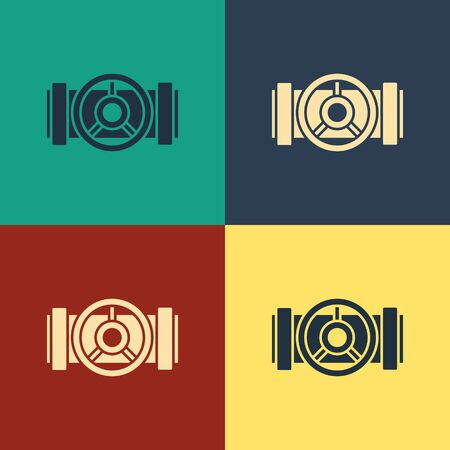 Color Industry metallic pipes and valve icon isolated on color background. Vintage style drawing. Vector Illustration