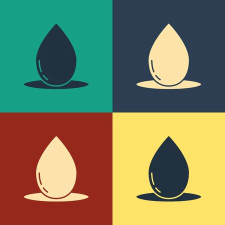 Color Oil drop icon isolated on color background. Vintage style drawing. Vector Illustration Standard-Bild - 134797014