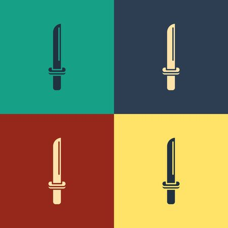 Color Traditional Japanese katana icon isolated on color background. Japanese sword. Vintage style drawing. Vector Illustration