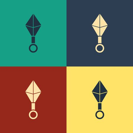 Color Japanese ninja shuriken icon isolated on color background. Vintage style drawing. Vector Illustration