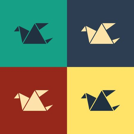 Color Origami bird icon isolated on color background. Vintage style drawing. Vector Illustration