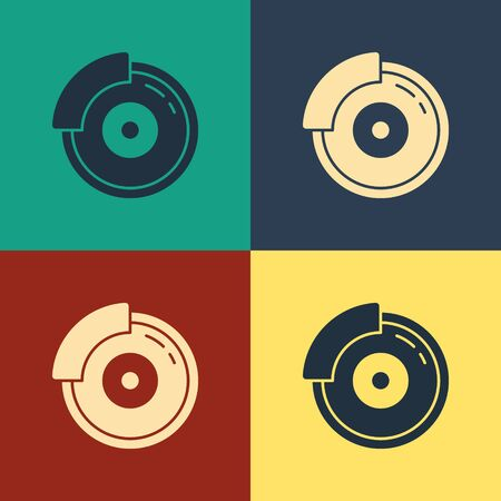 Color Car brake disk with caliper icon isolated on color background. Vintage style drawing. Vector Illustration