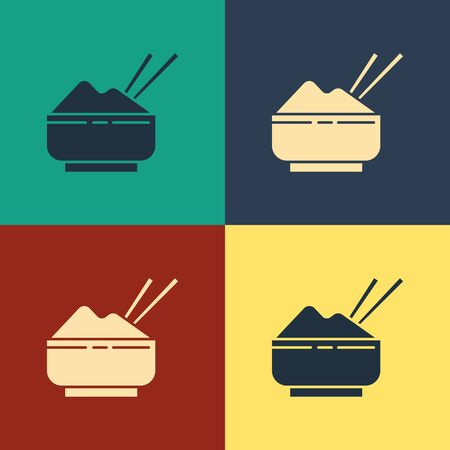 Color Rice in a bowl with chopstick icon isolated on color background. Traditional Asian food. Vintage style drawing. Vector Illustration
