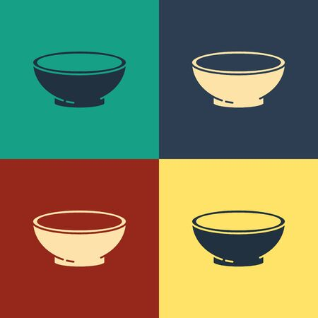 Color Bowl of hot soup icon isolated on color background. Vintage style drawing. Vector Illustration