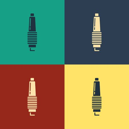 Color Car spark plug icon isolated on color background. Car electric candle. Vintage style drawing. Vector Illustration Illusztráció