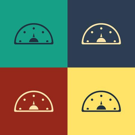 Color Speedometer icon isolated on color background. Vintage style drawing. Vector Illustration Foto de archivo - 134743939