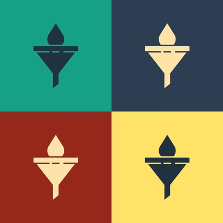 Color Funnel or filter and motor oil drop icon isolated on color background. Vintage style drawing. Vector Illustration  イラスト・ベクター素材