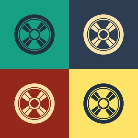 Color Car wheel icon isolated on color background. Vintage style drawing. Vector Illustration  イラスト・ベクター素材
