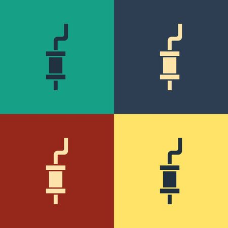 Color Car muffler icon isolated on color background. Vintage style drawing. Vector Illustration