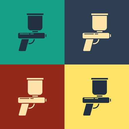 Color Paint spray gun icon isolated on color background. Vintage style drawing. Vector Illustration Stock Illustratie