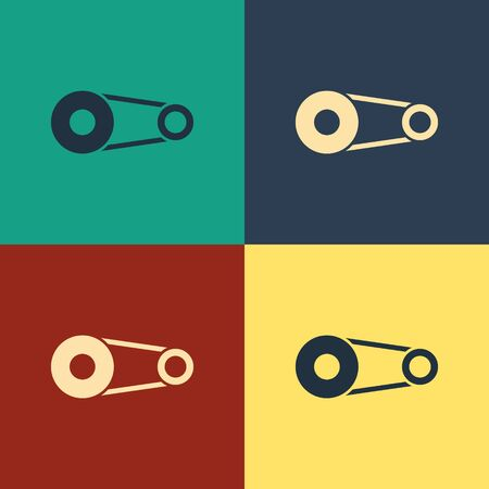 Color Timing belt kit icon isolated on color background. Vintage style drawing. Vector Illustration Illusztráció