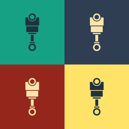 Color Engine piston icon isolated on color background. Car engine piston sign. Vintage style drawing. Vector Illustration Foto de archivo - 134797449