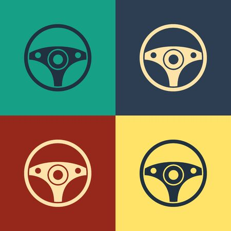 Color Steering wheel icon isolated on color background. Car wheel icon. Vintage style drawing. Vector Illustration Stock Vector - 134797441