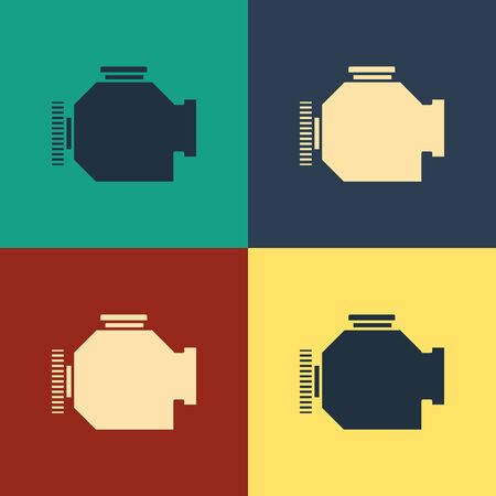 Color Check engine icon isolated on color background. Vintage style drawing. Vector Illustration Illusztráció