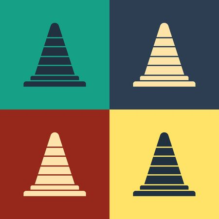Color Traffic cone icon isolated on color background. Vintage style drawing. Vector Illustration