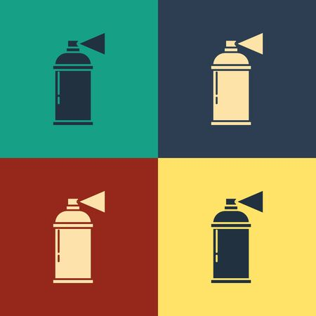 Color Paint spray can icon isolated on color background. Vintage style drawing. Vector Illustration