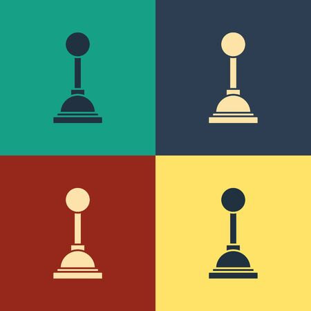 Color Gear shifter icon isolated on color background. Manual transmission icon. Vintage style drawing. Vector Illustration