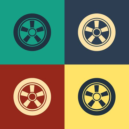 Color Car wheel icon isolated on color background. Vintage style drawing. Vector Illustration Illustration