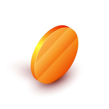 Isometric Japanese ninja shuriken icon isolated on white background. Orange circle button. Vector Illustration