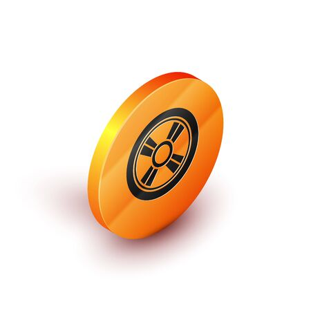Isometric Car wheel icon isolated on white background. Orange circle button. Vector Illustration